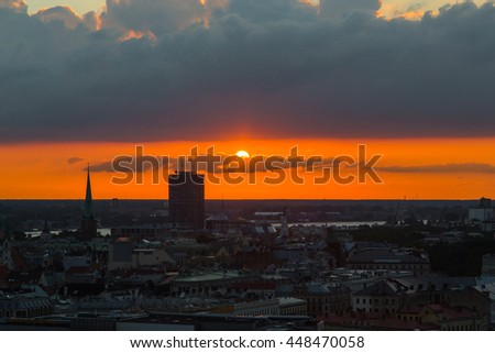 Beautiful sunset aerial skyline view over the city