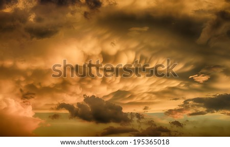 Beautiful sunset after a powerful storm. HDR image - stock photo