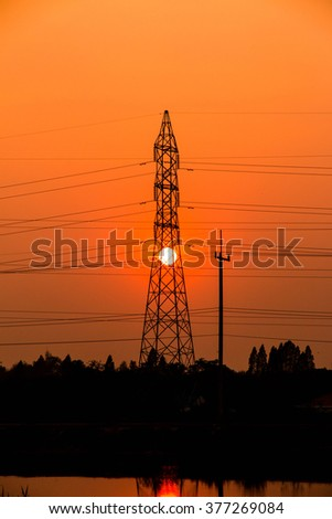 Beautiful Sunset against electric post.