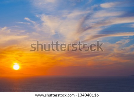 Beautiful sunset and colorful clouds and sea