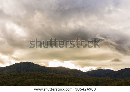 Beautiful sunset and evening sky with clouds for background