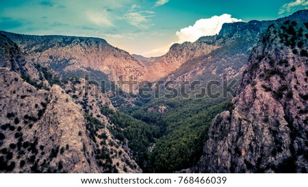 Beautiful Sunset And Mountain Landscape Isparta Yazili Kanyon