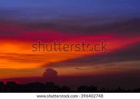 Beautiful sunset and with beautiful sky - stock photo