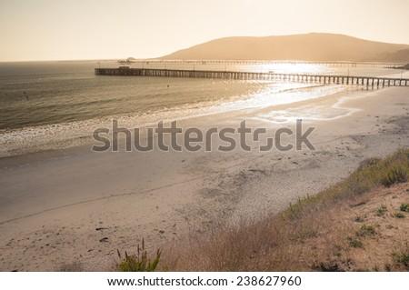 Beautiful sunset at Avila beach in California - stock photo