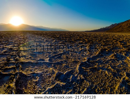 Beautiful sunset at Badwater Death Valley National Park - stock photo
