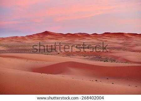 Beautiful sunset at early morning in the Sahara Desert, Merzouga, Morocco - stock photo