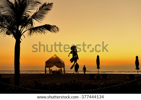 Beautiful Sunset at Kuta Beach, Bali, Indonesia