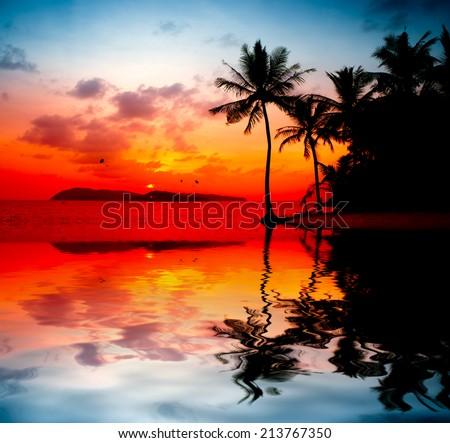 beautiful sunset at Langkawi Island - stock photo