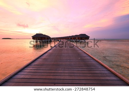 Beautiful sunset at Maldivian beach - stock photo