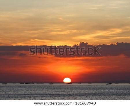 Beautiful sunset at Manila Bay. - stock photo