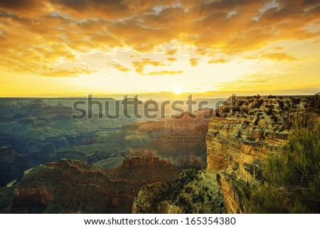 Beautiful sunset at Monument Valley, USA - stock photo