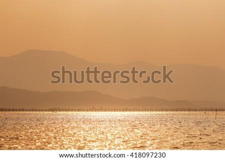 beautiful sunset at Phayao lake of Thailand - stock photo