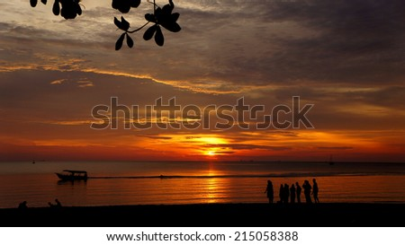 beautiful sunset at port dickson island, Negeri Sembilan, Malaysia - stock photo