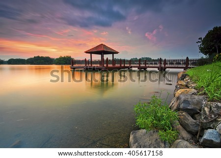 Beautiful sunset at Putrajaya Wetland Park, Malaysia. Nature composition.