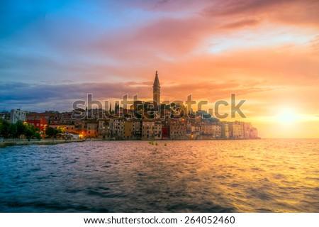 Beautiful sunset at Rovinj in Adriatic sea coast of Croatia, Europe. This image make HDR technique - stock photo