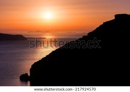 Beautiful sunset at Santorini, Greece - stock photo