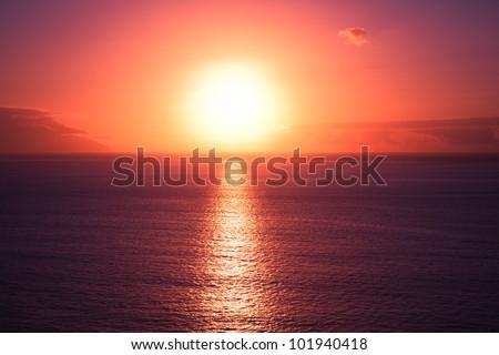 Beautiful sunset at seascape - stock photo
