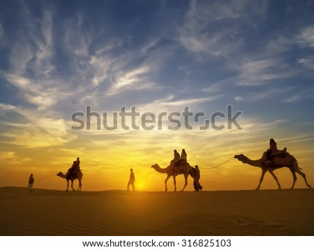 Beautiful sunset at Thar desert ,Jaisalmer,India