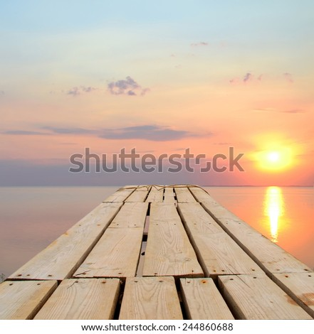 Beautiful sunset at the sea - stock photo