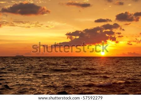 Beautiful sunset at tropical beach. Phangan island. Thailand - stock photo
