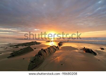 Beautiful sunset at Vale Figuiras in Portugal - stock photo