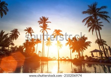 Beautiful sunset, beach in the tropics. - stock photo