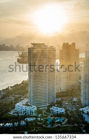 Beautiful sunset by the beach in Miami - stock photo