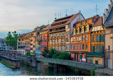 Beautiful sunset cityscape in Strasbourg - stock photo
