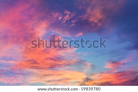 beautiful sunset, clouds in many colors - stock photo