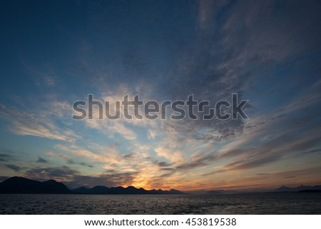 Beautiful sunset cloudscape in Alaska, landscape