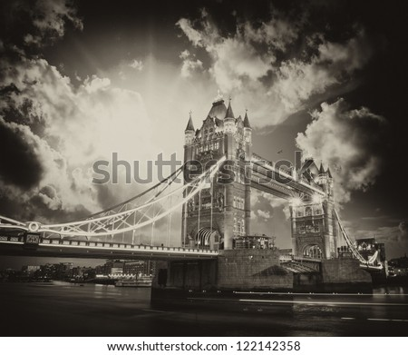 Beautiful sunset colors over famous Tower Bridge in London. - stock photo