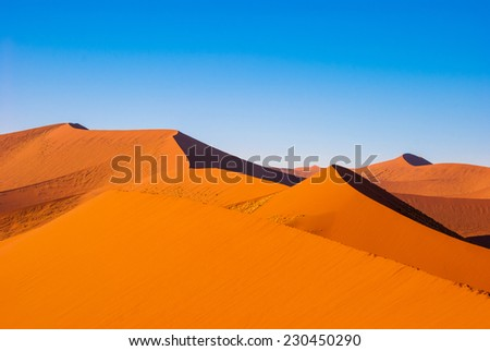 Beautiful sunset dunes and nature of Namib desert, Sossusvlei, Namibia, South Africa