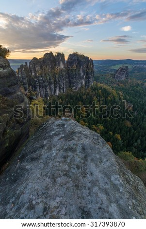 Beautiful sunset from the Schrammsteine viewpoint in Saxony Switzerland, Germany - stock photo