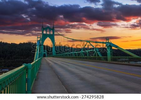 Beautiful Sunset Image of Saint John's Bridge in Portland, Oregon - stock photo