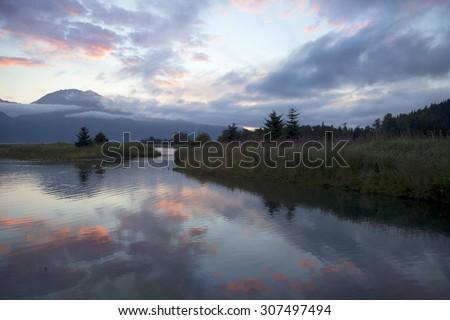 Beautiful sunset in Alaska - stock photo