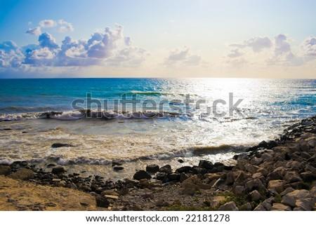 Beautiful Sunset in Alghero, Sardinia, Italy - stock photo