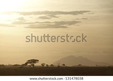 Beautiful sunset in Amboseli National Park 01 - stock photo