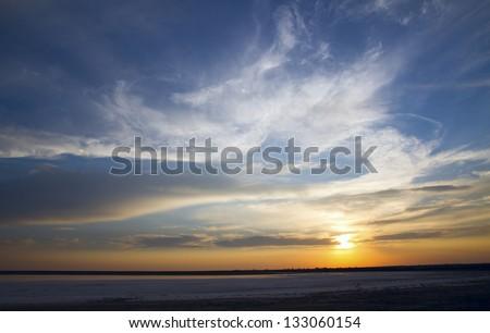 Beautiful sunset in Crimea - stock photo