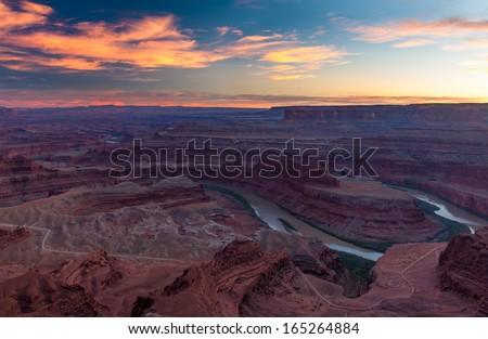 Beautiful Sunset in Dead Horse State Park, Utah - stock photo