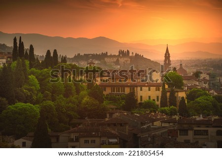 Beautiful sunset in Florence, Italy - stock photo