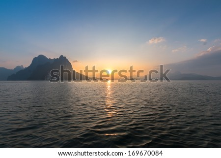 beautiful sunset in lake  at south of Thailand