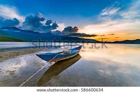 "Beautiful sunset in ""Lap An"" Lagoon A Beautiful and Famous Lagoon in Lang Co Town, Hue City, Vietnam for Eco nature travel.And Lang Co Town is famous for wonderful natural beach and lagoon of Vietnam"