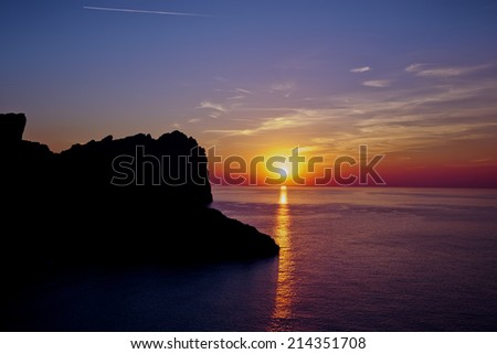 Beautiful sunset in mountains and sea.Formentor cape. Mallorca, Balearic island, Spain  - stock photo