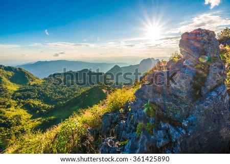 Beautiful sunset in mountains, Chiangdao sub alpine - stock photo