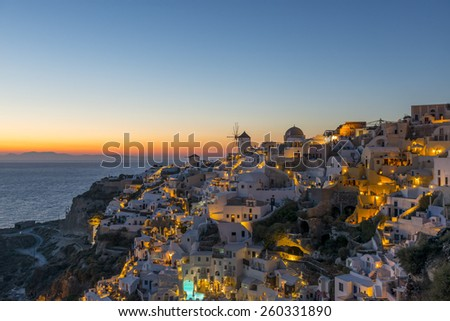 Beautiful Sunset In Oia In Santorini, Greece - stock photo