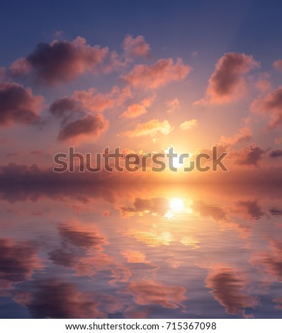 Beautiful sunset in pastel colors over the sea. Sunset natural composition.