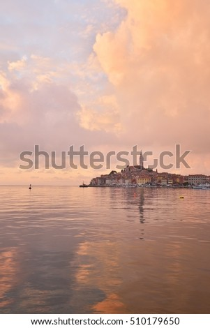 Beautiful sunset in Rovinj, a Croatian fishing port on the west coast of the Istrian peninsula, Croatia