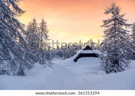 Beautiful sunset in slovenia alps -Europe - stock photo
