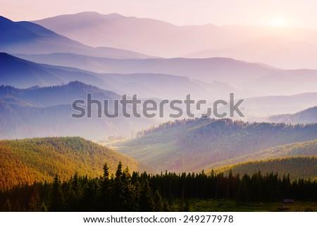 Beautiful sunset in the Carpathian Mountains Ukraine. - stock photo