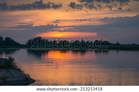 Beautiful sunset in the Danube Delta, Romania